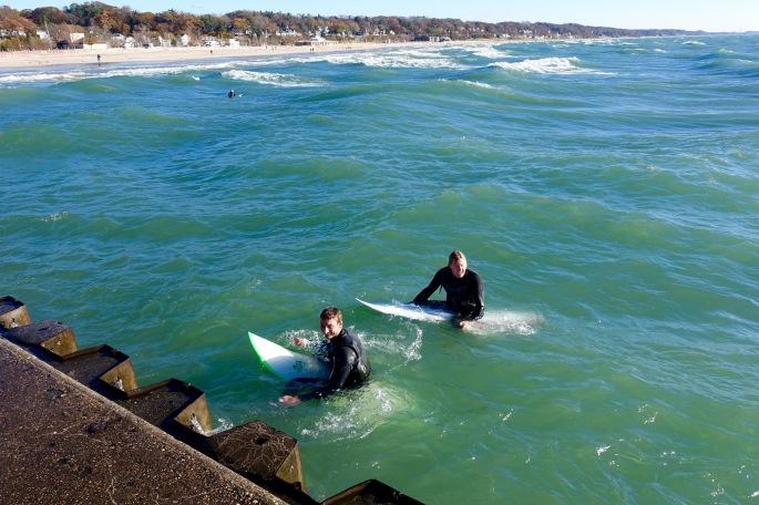 Surfers in Lake Michigan