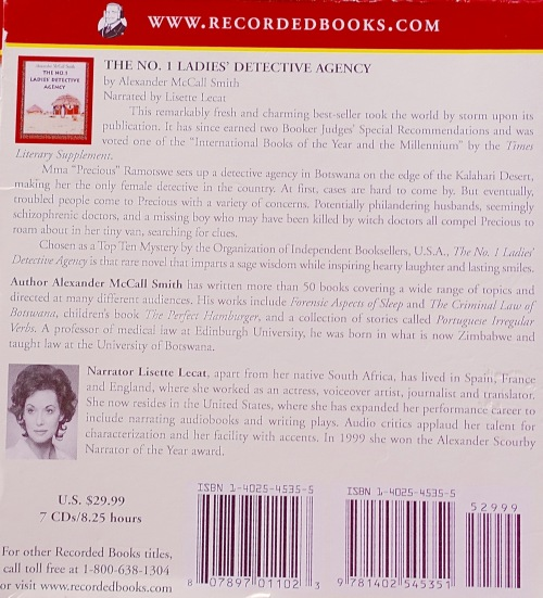 The No. 1 Ladies' Detective Agency back cover