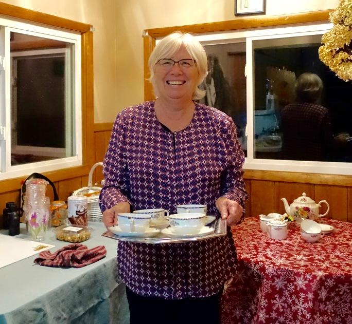 Brenda serving tea