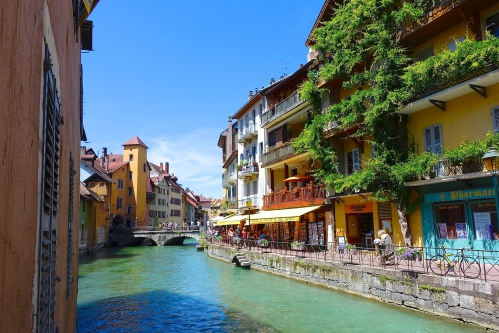 Canals in Annecy. The Venice of France