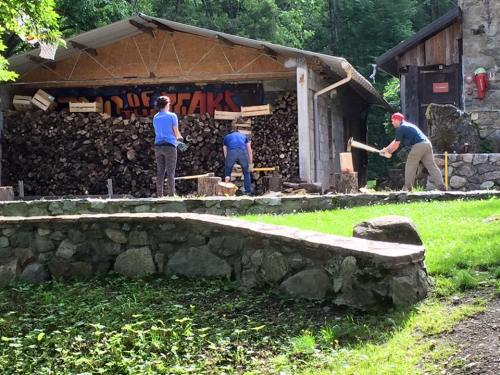Chopping Wood at the Camp of the Peaks