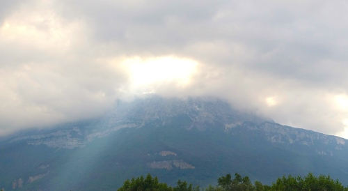 Cloudy Evening in Grenoble. Alps