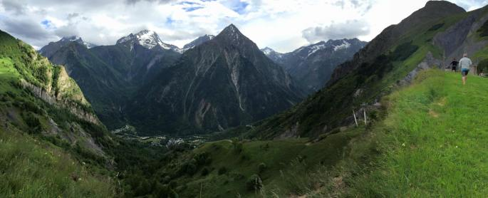 Panoramic view of hiking in French Alps