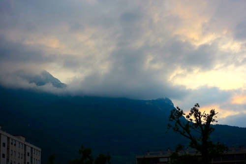 Sunrise over French Alps around Grenoble