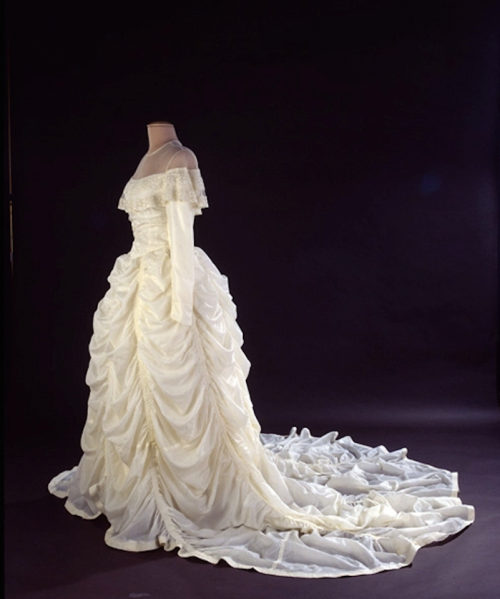 Wedding dress, 1947 -- handmade by the bride -- using the material from the parachute that saved the groom's life during WWII