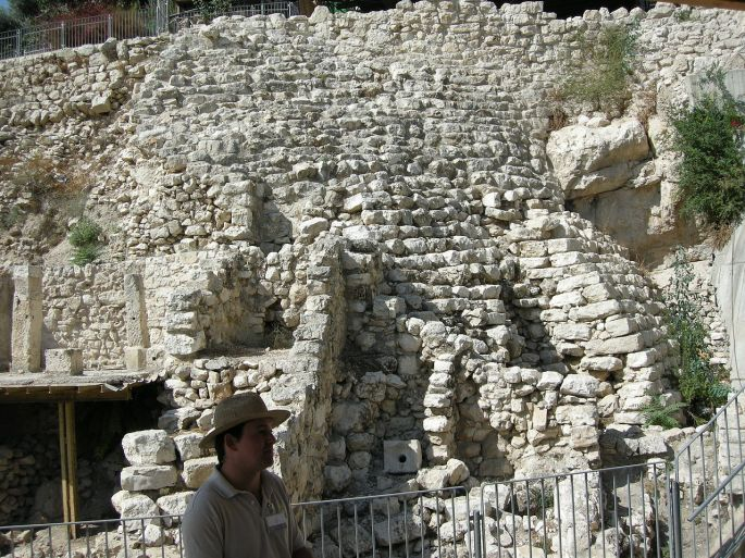 Yoav Dothan. Wall of Millo. City of David. WikiJPG