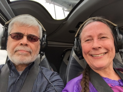 Alan and Kathi in the Helicopter