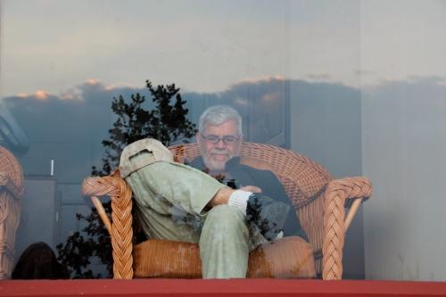 Alan waiting for dinner. Volcano House