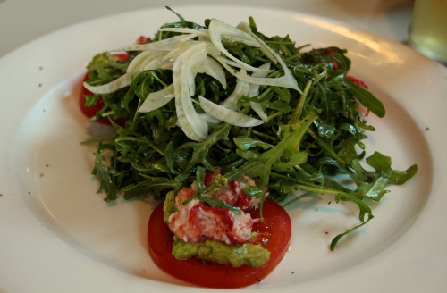 Argula Salad with Lobster and Guacamole