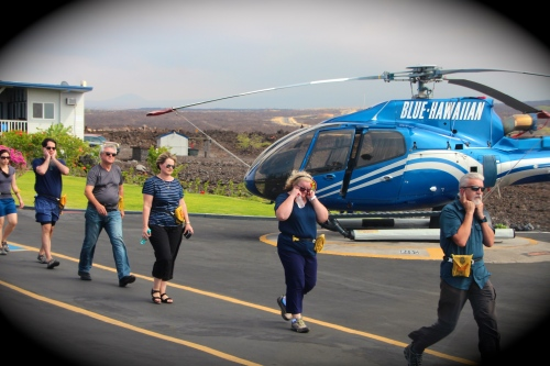 Boarding the copter Blue Hawaiian Helicopter Tour