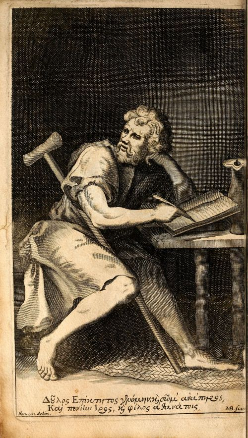 Epictetus stating he would embrace death before shaving. Wiki