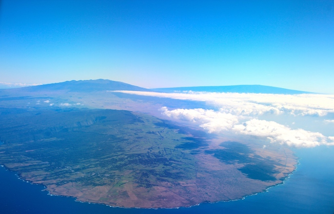 Mauna Loa and Mauna Kea from the air
