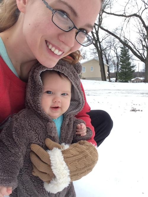 Mom and Baby ready to play in Snow