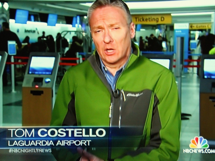 Newsanchor Tom Costello reporting from LaGuardia. 01.23.16