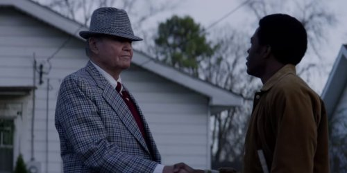 "Paul ""Bear"" Bryant (Jon Voight) meets Tony Nathan (Caleb Castille)"