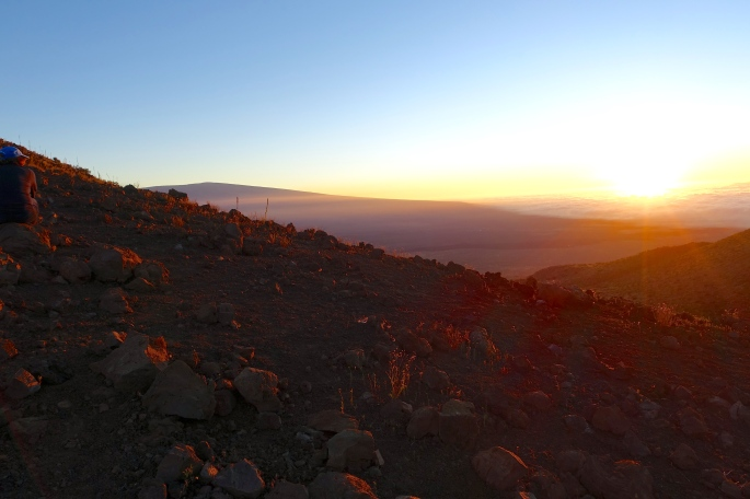 Sunset from Mauna Kea. Mauna Loa in distance