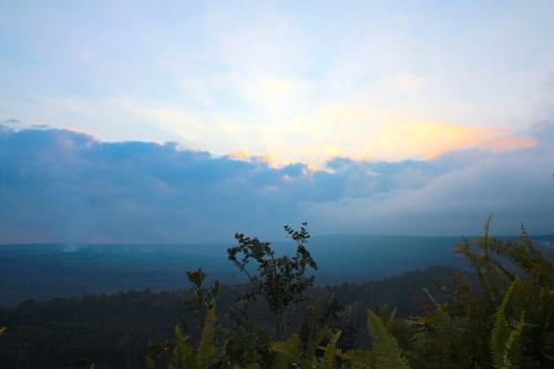 Sunset over Halema'uma'u Crater and Kilauea Caldera