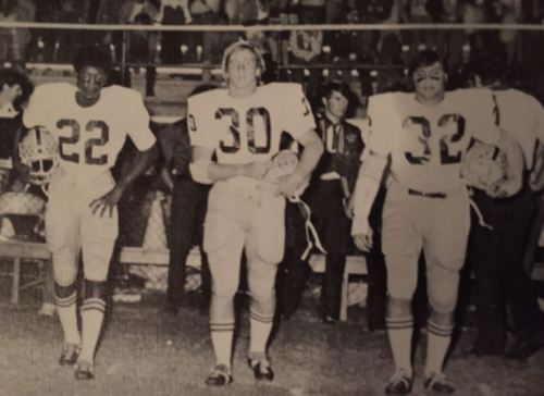 Tony Nathan with teammates at Woodlawn