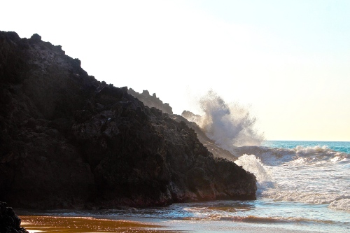 Waves Crashing at Hapuna Beach. Big Island