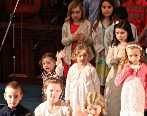 Children singing in church on Easter Morning