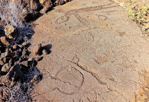 Figurines in Petroglyph field near Waikoloa