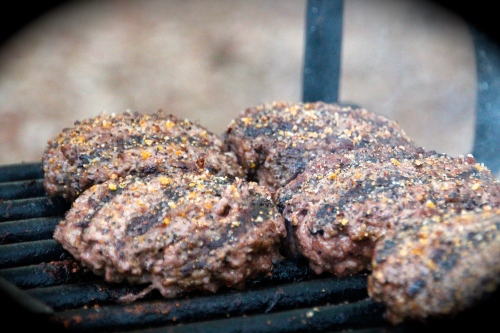 Grilling burgers at Fort Wilderness Campground