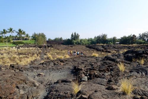 Group tour. Petroglyph field near Waikoloa