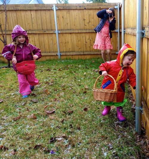 Taking pictures of children hunting for Easter eggs
