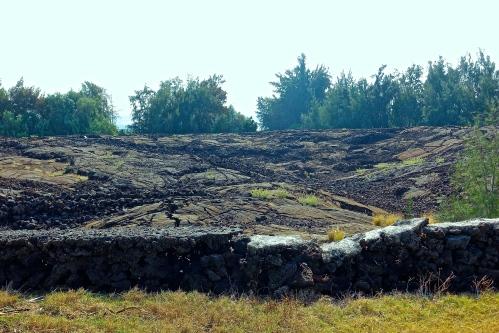 Wall around Petroglyphs in Waikoloa