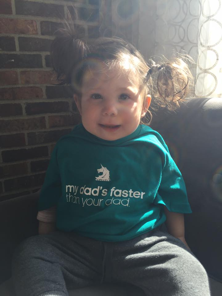 Baby Cheering her Daddy for the Boston Marathon