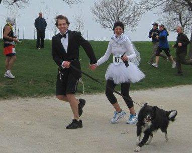 Bride and Bridegroom running a Marathon