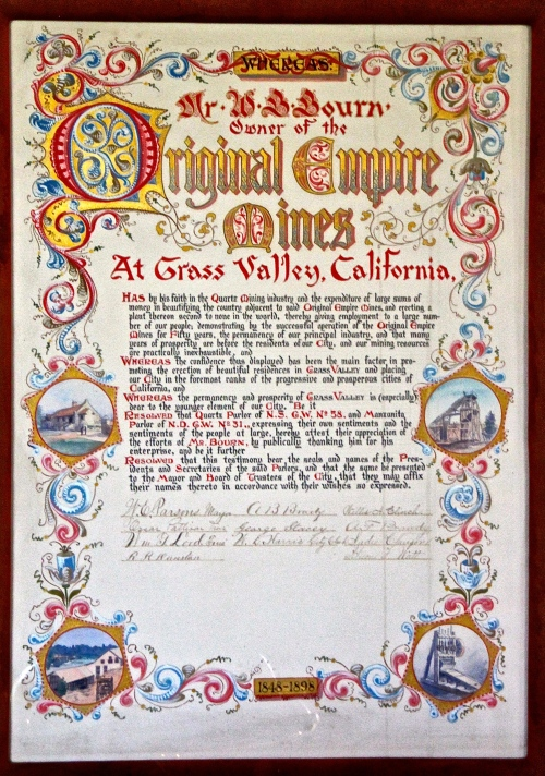 Elegant offical papers from Empire Mine CA
