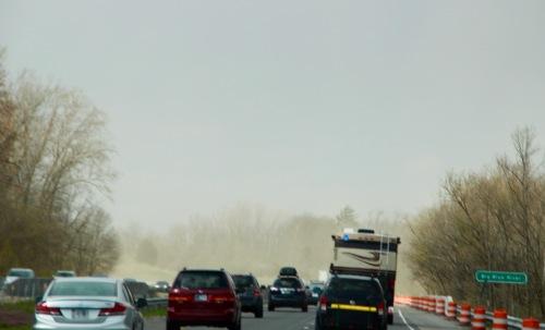 Heavy traffic Freak spring storm