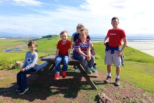 Kids atop Coyote Hills CA