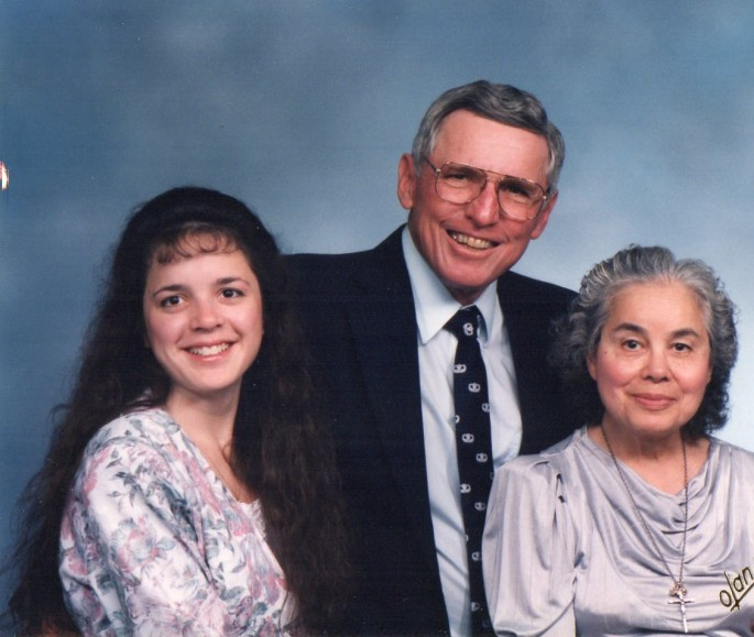 Lisa with her grandparents