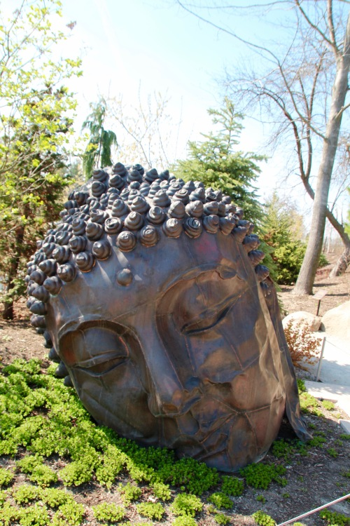 Long Island Buddha Sculpture in Japanese Garden at Meijer Garden