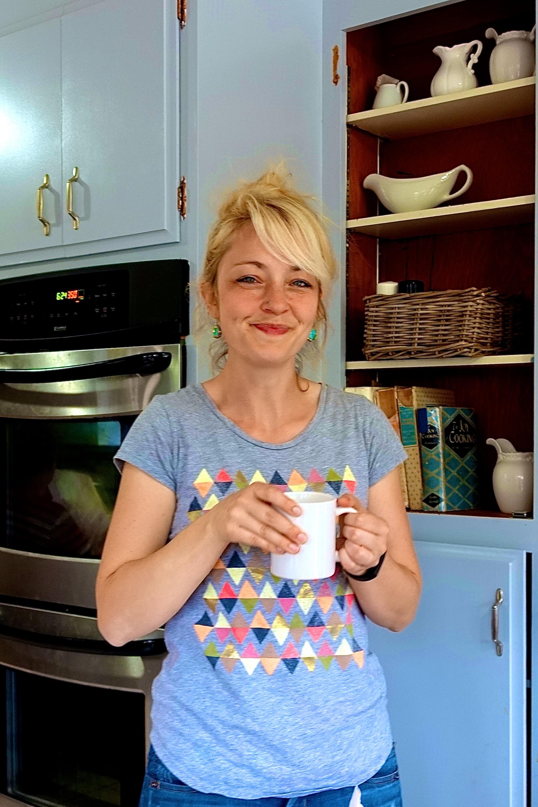 Mother having tea break