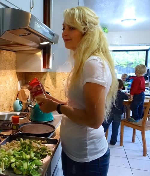 Mother making dinner
