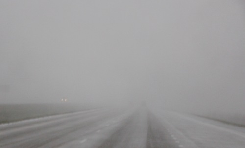 Snowstorm on highway 2