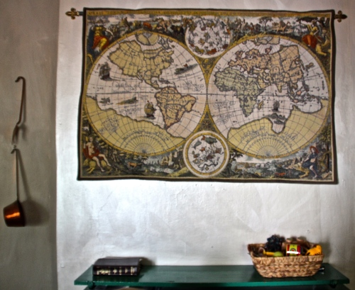 Bible, map, and coloring basket