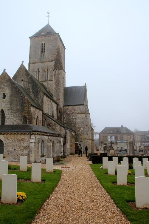 Etretat church de Notre Dame with cemetery in the backyard, Seine-Maritime, Normandy, France