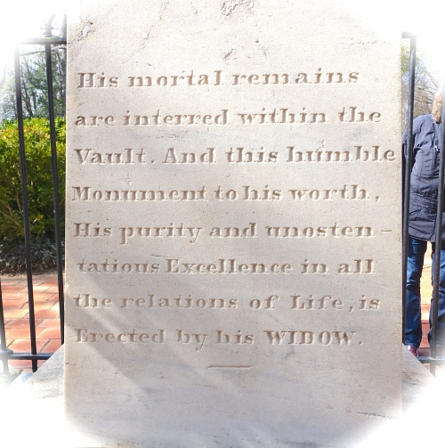Inscription on George Washington's Memorial at Mt. Vernon