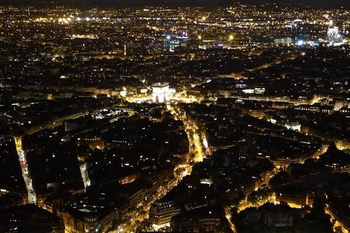 Arc de Triomphe from Eiffel Tower ar Night