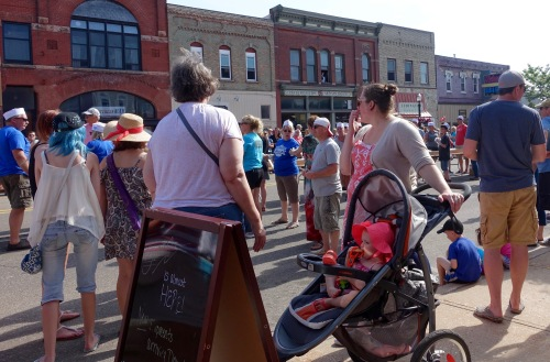 Baby waiting for ice cream at Ludington's World's Largest Sundae Attempt