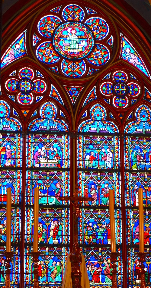 Beautiful stained glass windowns in Notre Dame Cathedral. Paris
