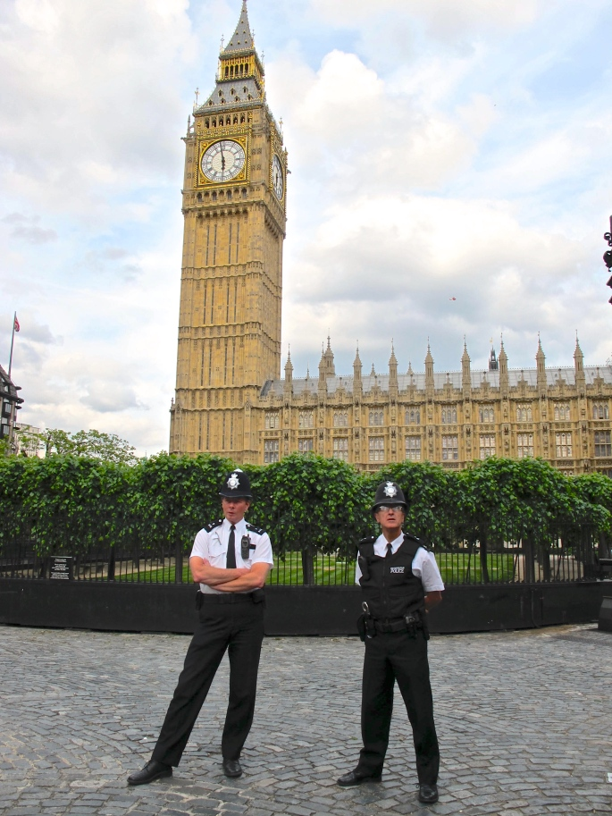 Bobbies in front of Big Ben