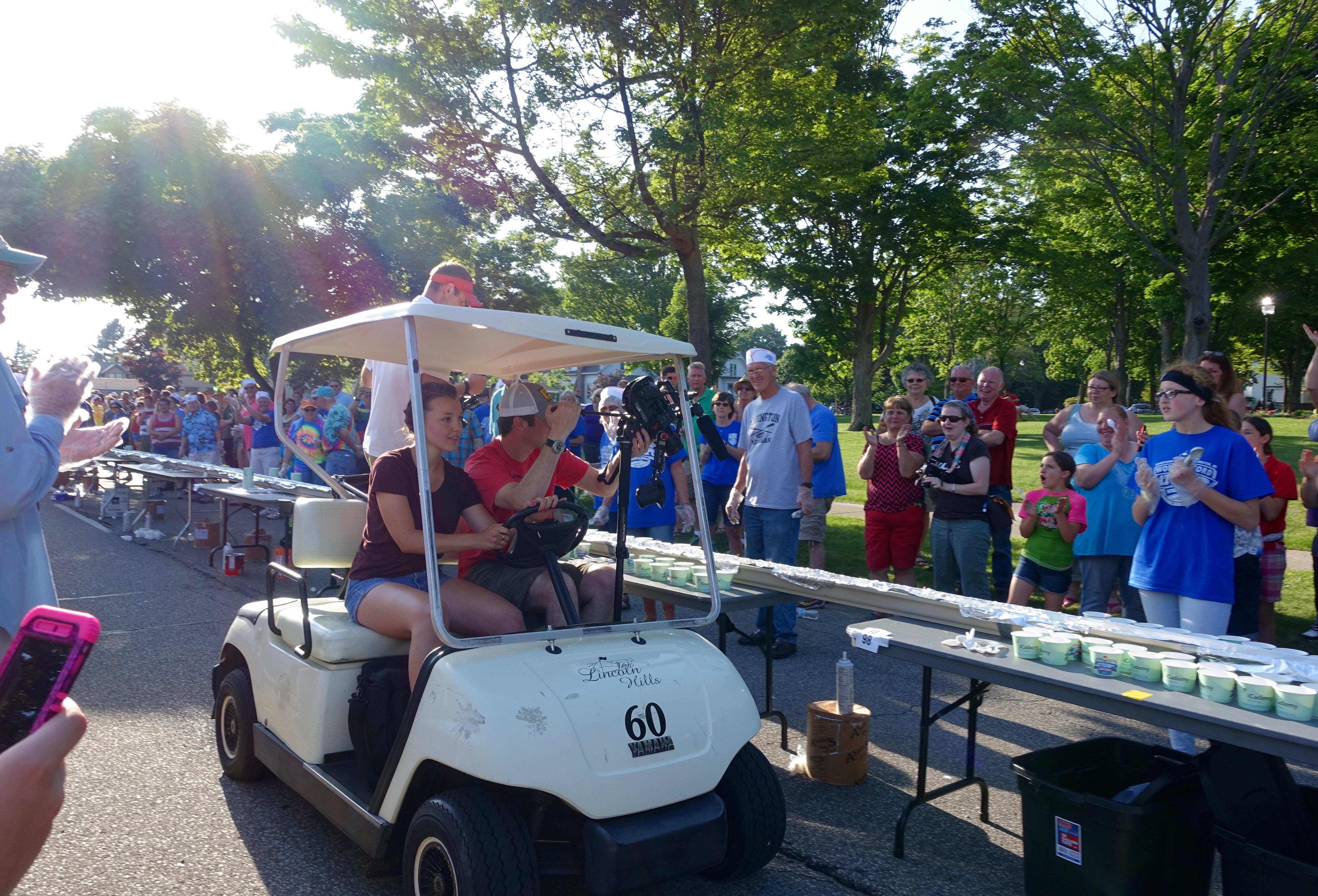 Camera Crew validating sundae at Ludington's World's Largest Sundae Attempt