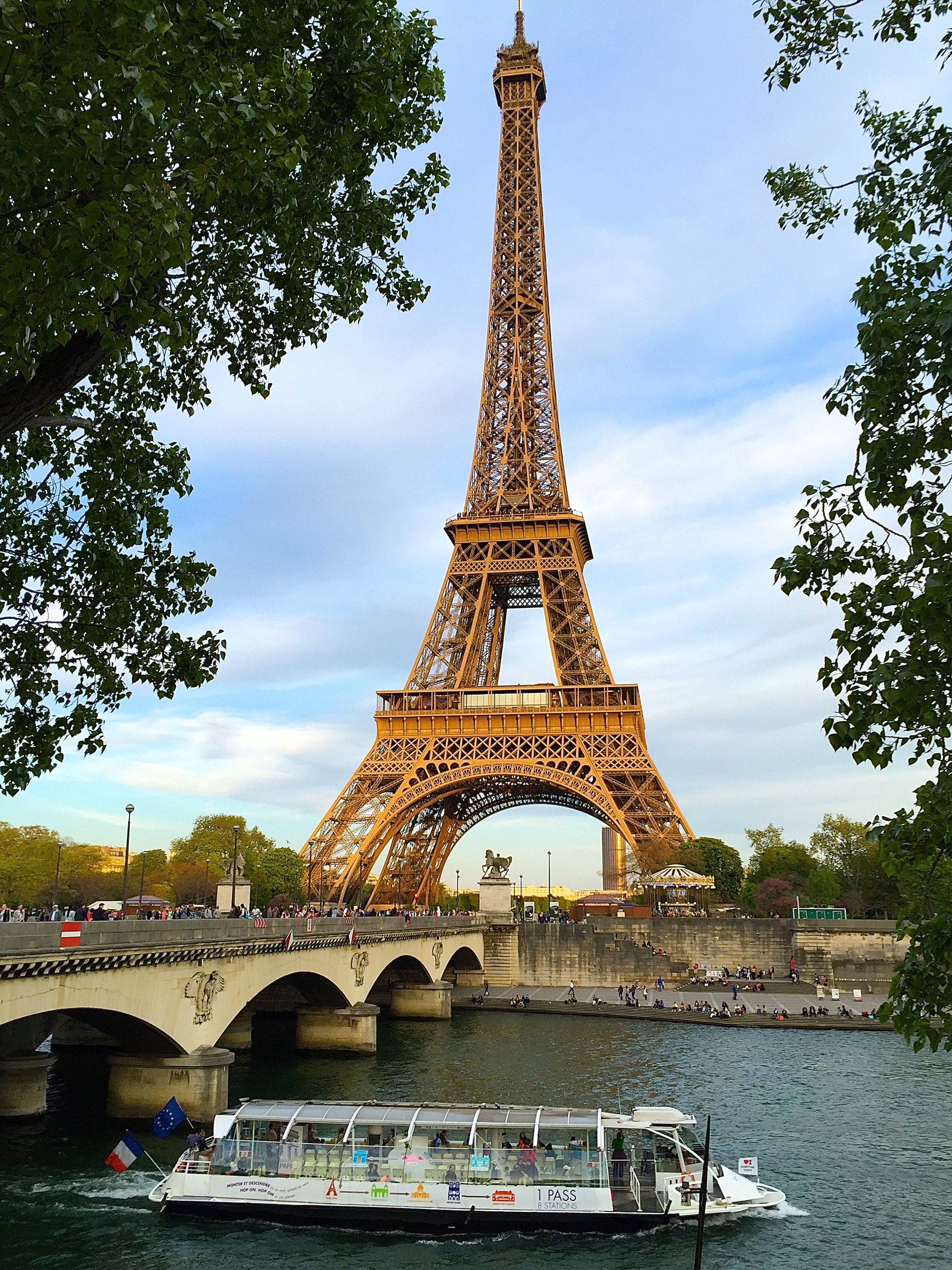 Eiffel Tower along Seine River