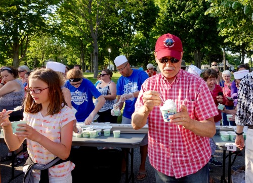 Enjoying sundae at Ludington's World's Largest Sundae Attempt