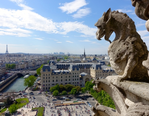 Gargoyle overlooking city from Notre Dame Cathedral. Paris